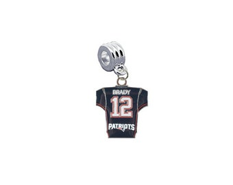 New England Patriots Tom Brady Jersey European Charm for Bracelet, Necklace & DIY Jewelry