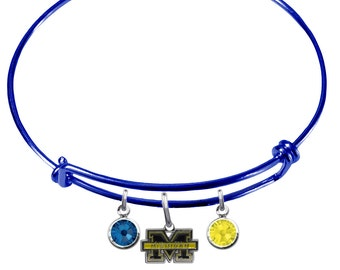 Michigan Wolverines COLOR EDITION Wire Charm Expandable Bangle Bracelet w/ Blue & Gold Crystal Rhinestone Charms - Pick Your Color