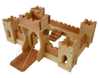Natural Wooden Play Castle-Fairy Tale Fortress Castle-Wood Castle-Pretend Castle-Toy Castle
