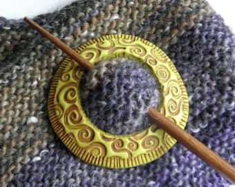Shawl Pin- Polymer Clay and Wood Stick