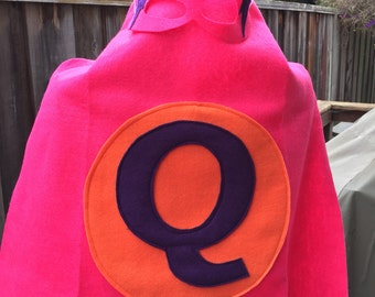 Superhero mask and cape personalized with a letter of your preference