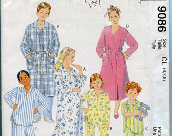 Boys Pajamas Pattern Girls Pajama Pattern Childrens Sewing Pattern McCalls 9086 Robe Pants Nightshirt uncut