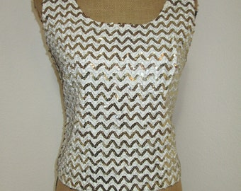 Vintage 1950s Chevron Sequined Shell 1950s Blouse  Womens Vintage top 50s blouse Sequins Gold VLV Bombshell Pinup Cropped Top Rock N Roll