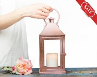Rose Gold Lantern Centerpiece, Rose Gold Wedding Decor, Pink Gold Candle Holder, Wedding Arrangement, Rose Gold Outdoor Lantern Decorations