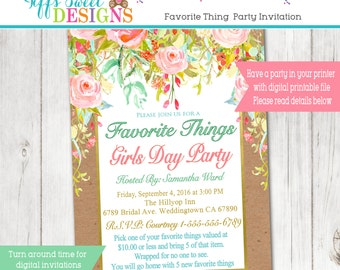 Favorite things Girls Day Party - Favorite Girls Night Party - Favorite Things Bridal Shower Invitation - Women Birthday Party