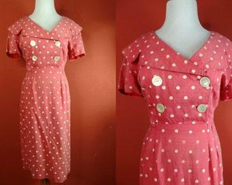 vintage 1950s pink polka dot wiggle dress - size medium/large