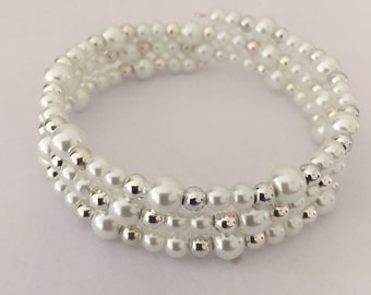 Glass Pearls and Silver Bead Memory Wire Bracelet