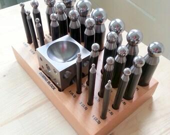 25 pcs Set Precision Jewelry Shaping Dapping Punch Set / Doming Block