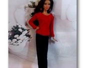 Red Sweater & Black Stretch Pants by Jan. Handmade Fashion Doll Clothes. Handmade Barbie Clothes not associated with Mattel. Fashion Royalty