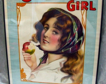 Rare Original ANTIQUE Art Nouveau Period Framed THEATER LITHOGRAPH Print - A Country Girl
