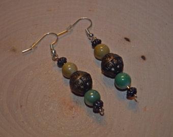 Green & Brown Beaded Bronze Silver Beaded Dangle Earrings