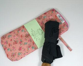 Umbrella wet bag, brolly bag, wet bag, pink, flowers, blue, vintage style
