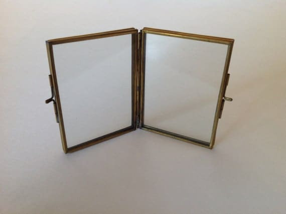 vintage small brass frame two sided glass brass frame wedding table place card holders