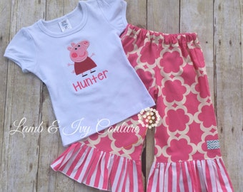 Peppa Pig Birthday Outfit including (1) Applique Embroidery Shirt with matching ruffle shorts