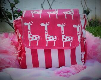 Messenger Diaper Bag Stripe/Giraffes for baby girl!!