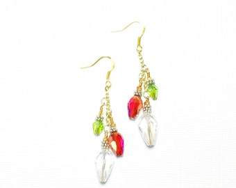 Red and Green Christmas Light Earrings