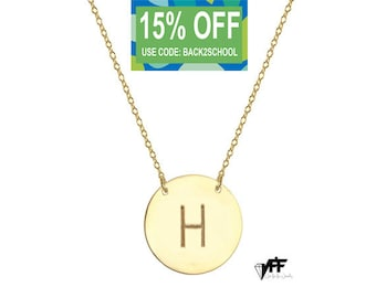 Gold plated personalize disc necklace with any initial celebrity inspired pendant  on 925 silver