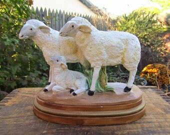 Vintage Large Manger Sheep - Plaster Sheep Figures - Plaster Sheep Nativity Figures