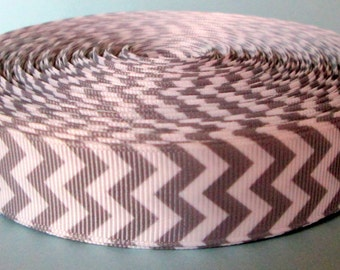 """Clearance Ribbon 7/8"""" Printed Grosgrain Ribbon by the Yard, Gray Chevron Ribbon for Crafts or Gifts"""