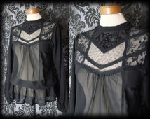 Gothic Black Beaded Lace Bib VICTORIAN GOVERNESS Sheer Blouse 8 10 Vintage