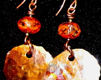 Fired and Hammered Copper Earrings.