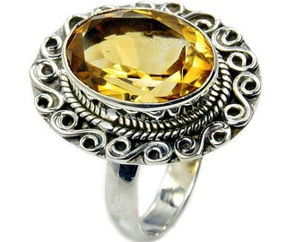 Sunshine Citrine Ring .925 Sterling Silver Ring Size 7.25 Jewelry , AC754 The Silver Plaza