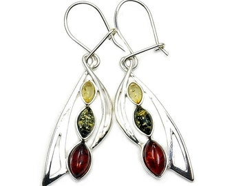 Natural Green and Honey Baltic Amber & Sterling Silver Dangle Earrings , AA46