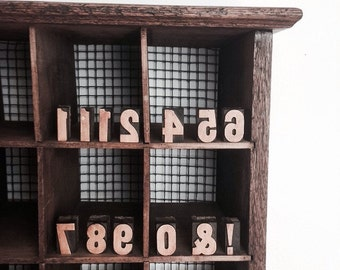 Vintage Wood Print Blocks Printmaking Letter Press Design Newsprint Newspaper Blocks Letters Numbers 1 2 4 5 6 7 8 9 0 ! &