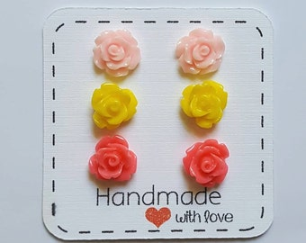 Rose earrings  Pink yellow Rose Earrings Rose stud earrings lead nickle free