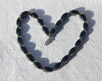 Vtg 80s Hematite Necklace