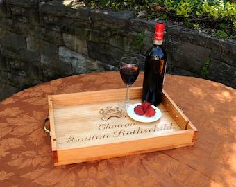 WIne Box Serving Tray, Upcycled Wine Box, Upcycled Serving Tray, Wine Serving Tray