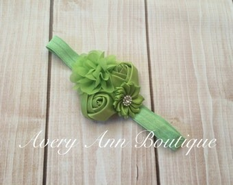 Green Headband, Fall Headband, Baby Green Headband, Newborn Green Headband, Flower Headband, Holiday Headband, Christmas Headband