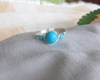 Ring,  Silver Wire Wrapped Turquoise and Blue Seed Beed Ring