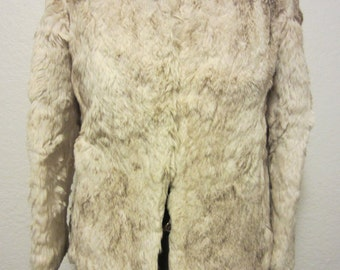 Vintage 80'S Ladies Genuine Black Tipped White Rabbit Fur Coat, Luxury Retro Style Winter Wear Snow Gear, Naturally Warm Plush Fall Fashion