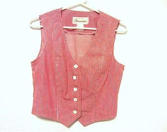 Red & White Striped Denim Fitted Ladies Vest Vintage 70's Bronson of California, Christmas Retro Style Patriotic Vest Vintage Ladies Fashion