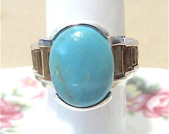 Vintage 80's Sterling Silver, Oval Turquoise & Topaz Baguette Ladies Chunky Ring, Southwestern, Modern, Unisex, Bold, Bright Colors, Unique