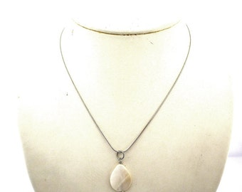 Mother of pearl shell necklace, beige brown mother of pearl shell drop, stainless steel finishing and chain, natural, shell, sea, bridal