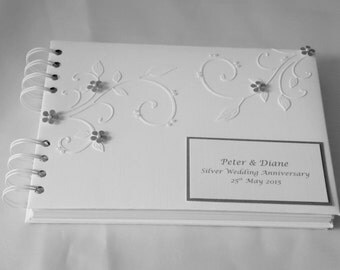 Silver Wedding Anniversary Album With Interleaving,Personalised,A5, With Flowers And Flourishes ,Boxed
