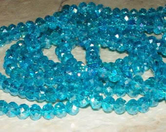 30 Faceted Turquoise Aqua Crystal Glass Rondells - 6x5MM
