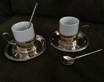 Set Of Two Cappuchino/Tea Cups, Saucers, And Spoons