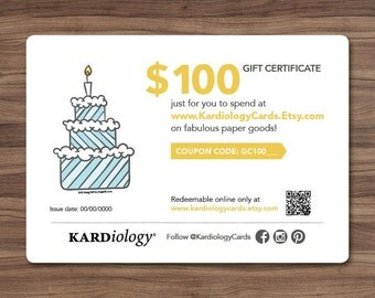 GIFT CERTIFICATE 100 DOLLARS - Kardiology Cards