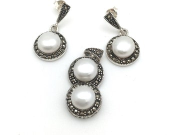 Round Marcasite and Freshwater Pearl 3 Piece Set