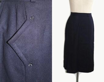 40s Wool SKirt / Navy Blue 1940s Midi Skirt S M