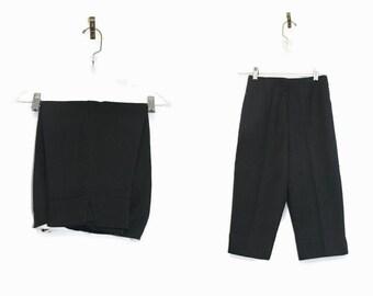 Vintage 50s Capris XS / 50s Capri Pants Black / 1950s Pedal Pushers 24 Waist