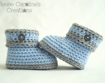 Blue and Grey Crochet Baby Boy Button Booties - Please Select Size
