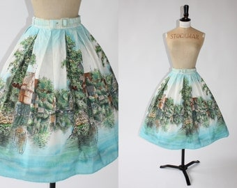 Vintage 1950s 50s novelty scenic English countryside skirt UK 6 US 2 XS 24in was it