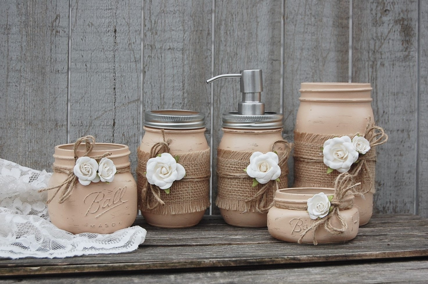 Mason jar soap dispenser bathroom set fall decor earth for Bathroom decor mason jars