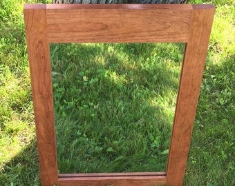 Cherry Framed Mirror - Cherry Danish Oil - Bathroom Mirror - Bedroom Mirror - Hallway Mirror - Custom Sizes - Shaker Style
