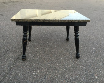 Vintage shabby chic granite top accent table
