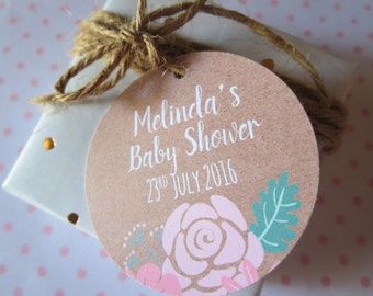 Rustic Boho Chic Floral Baby Shower Favour Gift Tags x 25